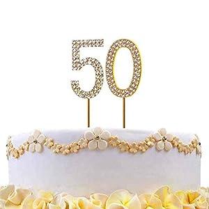 Gifts 4 All Occasions Limited SHATCHI-819 - Decoración para tarta con diseño de número 50, color dorado