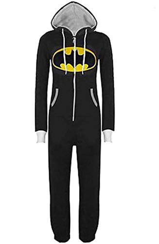 Kann Kostüm Martha - Damen Herren Overall Jumpsuit Sleepsuit Superman & Batman mit Kapuze Pyjamas Kostüm Cosplay Homeware Sleepsuit Schlafanzug Unisex Overalls (S, Schwarz)