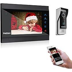 TIMEZON sonnette sans fil avec caméra vidéo Wifi - Moniteur vidéo inclus 7 pouces - Vision nocturne - ouverture à distance - surveillance par smartphone