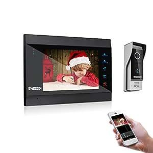 TMEZON Wifi IP Vidéo Interphone doorbell,1x7 Pouce Moniteur,1x1200TVL Sonnette de Caméra Filaire Vision Nocturne,Déverrouillage à distance,Parler,Enregistrer, Surveiller/Instantané via Smartphone