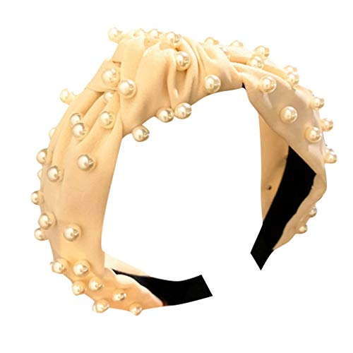 Stirnband Frauen Solid Crystal Pearl Stirnband Stoff Haarband Kopf wickeln Haarband Zubehör