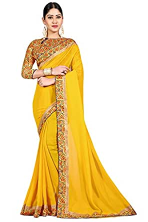 OOMPH! Georgette Saree with Blouse Piece (rbar_Yellow_Free Size)