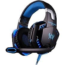 VersionTech G2000 Auriculares Estéreo de Juegos Profesional Gaming Headset para PS4 Bass Over-Ear con Microfono y Luz LED para Laptop PC Ordenador Portátil Móvil Inteligente Azul