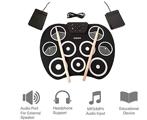 Batería Electrónica Drum Kit Silicona USB Plegable Drum Pad Instrumentos De Música Con Palillo De...