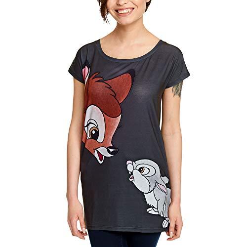 Bambi Disney Damen T-Shirt Friends Klopfer Loose Fit Elbenwald grau - L (Damen T-shirts Disney)