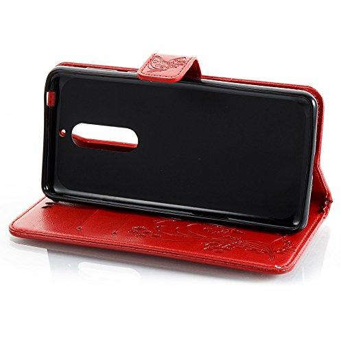 Solid Color Faux Leder Bookstyle Brieftasche Stand Case mit geprägten Blumen & Lanyard & Card Slots für Nokia 5 (N5) ( Color : Brown ) Red