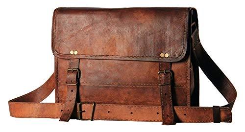 Umhängetasche Leder Laptoptasche Unitasche Ledertasche Herren Damen 13 Zoll Vintage Look Braun