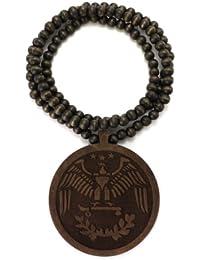 Collier en bois de ton brun à pendentif rond d'aigle engravé, L.91,4 cm WJ185BRN