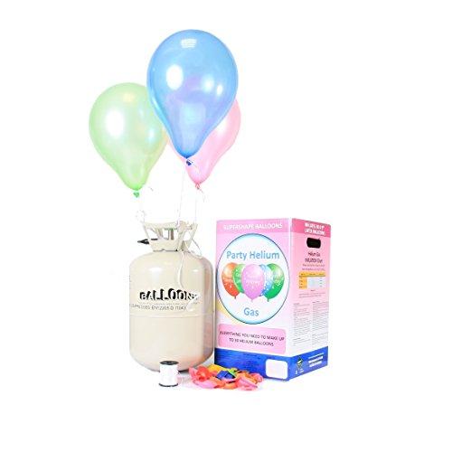 um für Luftballons - Ballongas - XL für bis zu 30 Ballons - Heliumbehälter inklusive 30 Latexballons und Ballonband zum einfachen befüllen ()