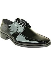 VANGELO Tux-5 - Zapatos de cordones de Material Sintético para hombre Negro negro (black patent)