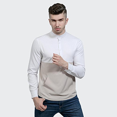 Herren Hemd Longra Männer Casual Langarm Shirt Business Slim Fit Shirt Patchwork Bluse Hemd White