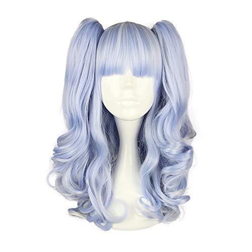 Rens Cos Perücken Hellblau Lange Lockige Haare, Kreative Cosplay Lustige Halloween Und Party, Frauen Und Männer Können Verwendet Werden