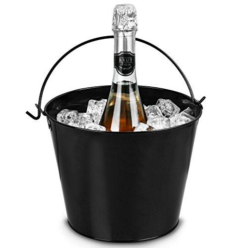 Party Time-Wein- und Champagner-Eimer, schwarz, pulverbeschichteter Stahl (Champagner Party)