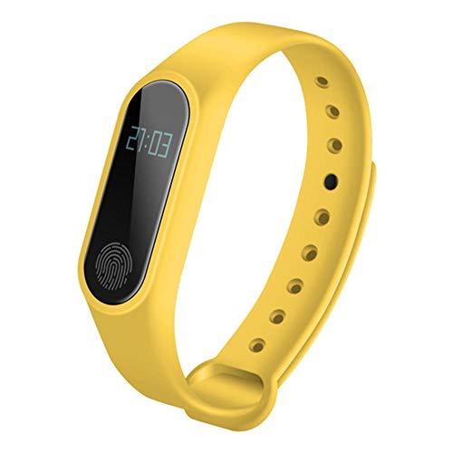 LJSHU Smart Pulsera Salud frecuencia cardíaca monitoreo IP67 Impermeable Multi-función Bluetooth Deportes Reloj,Yellow