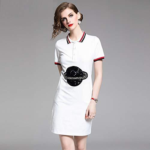 Kontrast Kragen Kleid Shirt (QUNLIANYI Kleid Spitze Frauen Pailletten Planet T-Shirt Kleid Kontrast Turn Down Kragen Kurzarm Knopf Sommer Lange Top Kurzes Kleid XXL Weiß)