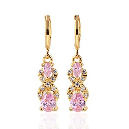 WTPUNGB Tropfen Wasser Geformt Diamant Ohrringe 14K Gold Multi Farbe Ohrringe Tropfen Ohrring Für Frauen Rosa