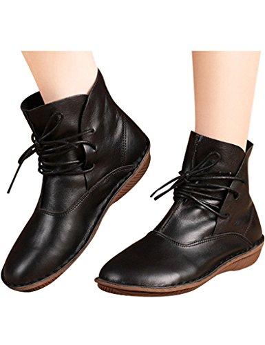 Youlee Frauen handgefertigt Round Toe Lederstiefel Lace-up-Stiefel Schwarz
