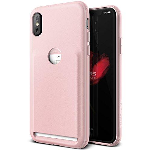 iPhone X Hülle, VRS Design® Kartenfach Schutzhülle [Rot] Schlagfesten Case Kratzfeste Stoßsichere Handyhülle [Damda Folder] für Apple iPhone X Rosa