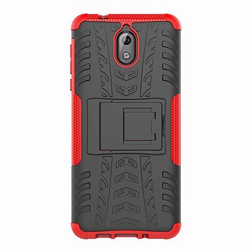 SHIEID Nokia 3.1-Hülle Tough Hybrid Armor Case,Diese Handyhülle Anti-Wrestling Travel Essential Faltbare Halterung für Nokia 3.1(Rot)