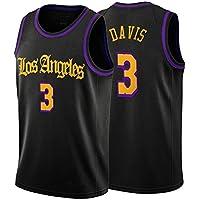 Davis Basketball Jersey, Lakers # 3 Chaleco sin Mangas Retro Bordado Juvenil, Juego de Entrenamiento Malla Transpirable Jersey de Secado rápido Camiseta de Recuerdo S-XXL-XXL