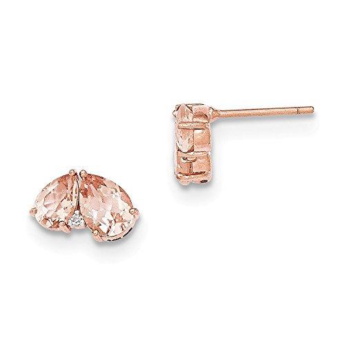 14K Rose Gold Morganit und Diamant Ohrringe Post/DIAMANT ctw. 0,01, Gem ctw. 1,9 (Rose Gold Morganit Ohrringe)