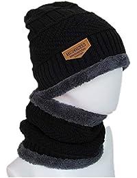 Jspoir Melodiz 1 juego de invierno Beanie Hat bufanda conjunto Sombrero de punto  cálido Gorro de fc61bbbd4cf