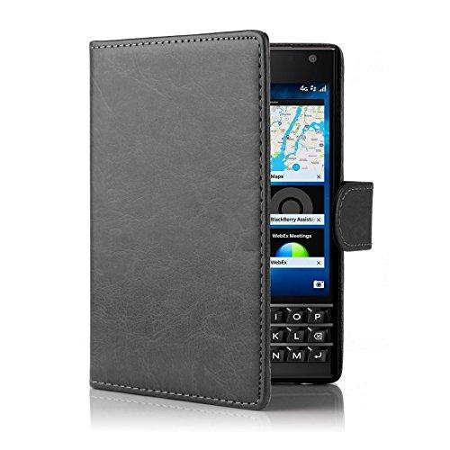 32nd PU Leder Mappen Hülle Flip Case Cover für BlackBerry Passport, Ledertasche hüllen mit Magnetverschluss & Kartensteckplatz - Schwarz