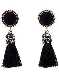 Fossrn Mujer Pendientes Largos Flecos Borla Estilo Vintage Cristal de pedrería Earrings Joyería ...