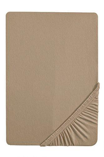 biberna 77144 Jersey-Stretch Spannbetttuch, nach Öko-Tex Standard 100, ca. 90 x 190 cm bis 100 x 200 cm, taupe