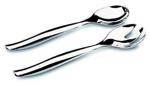 MOZAIK Metallised Plastic Salad Serving Spoon & Fork Set (5 Serving Salad Forks, 5 Serving Salad Spoons) by Mozaik