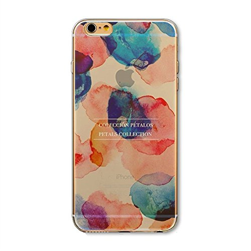 Custodia iPhone 7,Gray Plaid Design [Anti-scratch] 3D Matte Colorful Printing Pattern Soft TPU Gel Silicon Protective Cover Per iPhone 7 (4.7 inch) - iceberg petali di grandi dimensioni