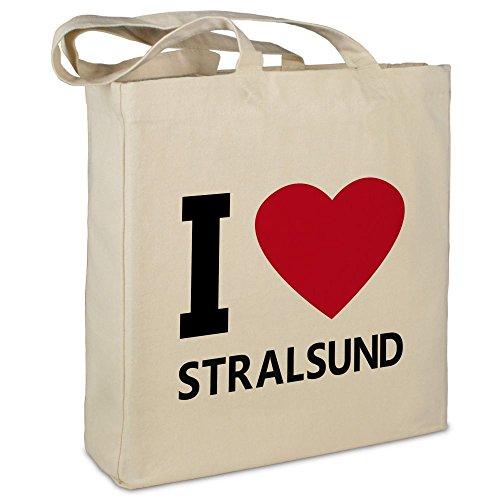 """Stofftasche mit Stadt/Ort """"Stralsund"""" - Motiv I Love - Farbe beige - Stoffbeutel, Jutebeutel, Einkaufstasche, Beutel"""