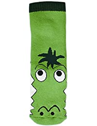 1 Paar Baby / Kinder - Sockenschuhe mit vollgummierter Anti-rutsch-Sohle Krokodil