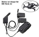 JRing Mavic Air Autoladegerät, 3 in1 KFZ-Ladegerät Adapter für DJI Mavic Air Drohne Batterien und Fernbedienung Ladestation HUB USB