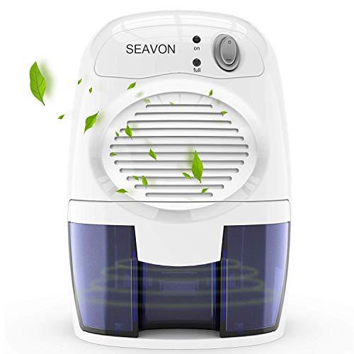 SEAVON Electric Luftentfeuchter, 1500 Kubikfuß (170 Quadratfuß) tragbar und kompakt 500 ml (16 Unzen) Kapazität Leise Luftentfeuchter für Keller, Schlafzimmer, Badezimme, automatische Abschaltung