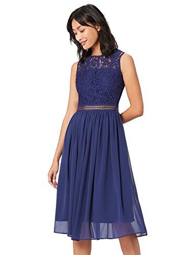 TRUTH & Fable Lace Trim Bridesmaid Midi Hochzeitskleid, Blau (Blue), 44 (Herstellergröße: XX-Large)