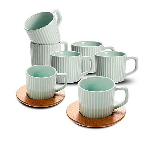 Porzellan Kaffeetassen mit Untertassen 6er Set Bone China Kaffeetassen geprägt Keramik Espresso Tee Tassen Demitasse türkische Kaffeetasse Italienisch Türkisch Mini Espresso Kaffeetassen 3.4oz grün -