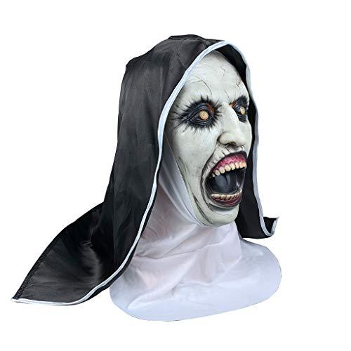 Hockey Maske Beängstigend Kostüm - LGP Halloween realistische Nonne Maske Horror Angst weibliches Gespenst Gesicht Gespenst Horror Thriller unheimlich Gesicht Maskfull Kopf Maske gruselig