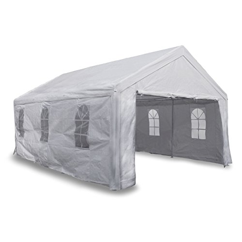 Nexos Festzelt Pavillon 4x6 m Weiß mit Seitenteilen 180g/m² PE Wasserdicht Carport Partyzelt...