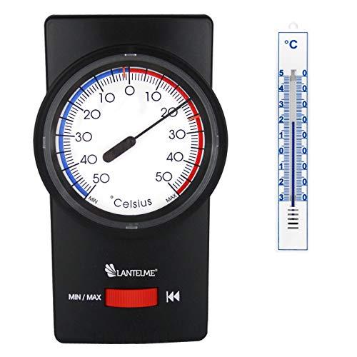 Lantelmne 7260 Set Bimetall Min-Max Thermometer schwarz und Analog Innen-Außen Thermometer weiß