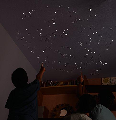 Kit mit 500 fluoreszierenden STARS, + Größe von 2 m², GENAUE REPRODUKTION DES HIMMELS + 2 KARTEN mit Angaben. Für 2 Decken oder Wände .............................. Die exklusive und originelle Dekoration. Die Aufkleber sind phosphoreszierende Sterne, klebend und hell, die das Schlafzimmer oder den Raum beleuchten, wenn das Licht ausgeschaltet wird. (Nacht Himmel Karte)