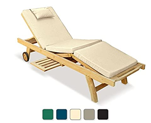 Luxury Outdoor Wooden Sun Lounger with adjustable knee section and Cushion from a choice of up to 5 different colour variations (Beige) - Jati Brand, Quality & Value