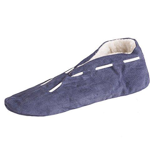 BRUBAKER Mädchen oder Jungen ABS Hausschuhe aus Echtleder als Stopperschuhe Schuhe mit rutschfester Sohle Gr. 24 - 40 Blau