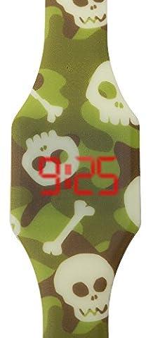 Digitale Uhr LED für Junge, Kinder und Jugendliche, Armbanduhr, aus weichen Silikon, ein stilvolles Geschenk, mit Totenköpfen, Kiddus