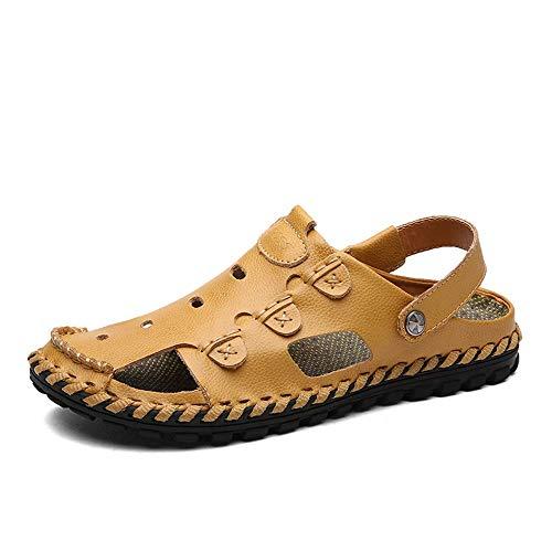 BAIJJ Herren Sommer Sandalen, PU Leder Sommer Strand Schuhe Gefüttert Closed Toe Walking Fischer Slipper Anti-Rutsch-Obermaterial Outdoor Sandalen für Mann (Farbe: Gelb, Größe: 6 UK) -