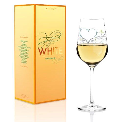 RITZENHOFF White Weißweinglas von Kurz Kurz Design, aus Kristallglas, 360 ml, mit edlen Platinanteilen