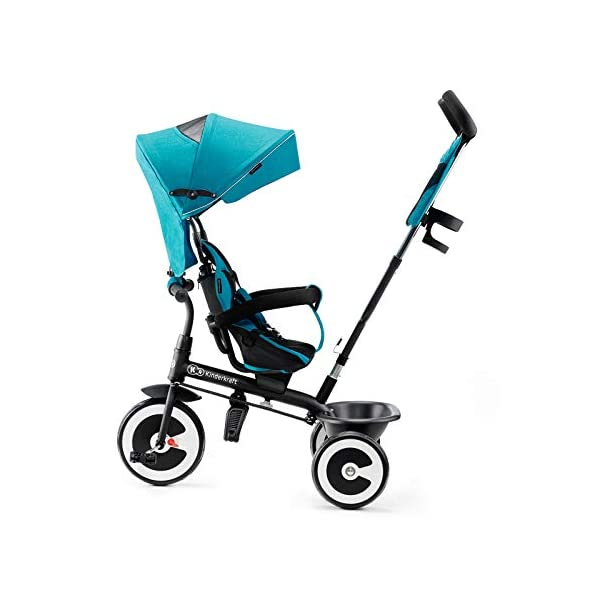Kinderkraft Aveo KKRASTOTRQ0000 Tricycle with Accessories in 3 Colours Blue kk KinderKraft Five point safety straps for the shoulders and an additional strap between the legs to protect the child from falling out A mechanism that connects the parent handlebar with the child's handlebar so that parents can have full control over the bike guidance when required. Free-wheel that causes the child to rmble freely regardless of the person who leads the bike 4