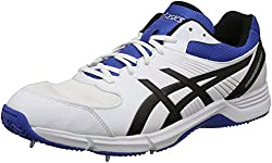 ASICS Mens Gel-100 Not Out White, Black and Blue Cricket Shoes - 6 UK/India (40 EU)(7 US)