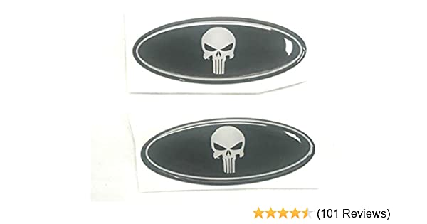 Punisher Sparkoo F-57SKB 2X Skull Punisher Steering Wheel Logo Emblem Badge Overlay Decal For Ford F-150 F-250 F-350 0.875in x 2.25in