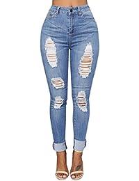 Pantalones para Mujer Cintura Alta Grandes Pantalones Leggins Mujer  Elástico Flacos Skinny Slim Fit Largos de dae2a25f3d4b6